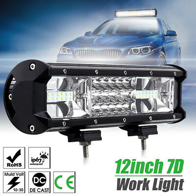 12 Inch 7D Tri-Row 324W LED Work Light Bar  Flood Spot Beam Truck SUV 4WD OFFRO