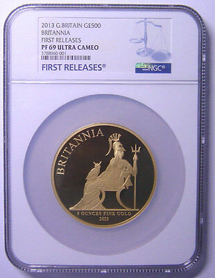GREAT BRITAIN 500 Pounds 2013 Gold 5oz NGC PF69UC First Releases Mtg:61 only  RR
