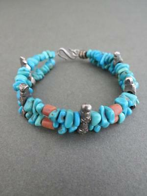 Vintage Turquoise Salmon Coral Sterling Silver Bracelet