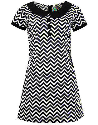df170bcc06 MAPCAP ENGLAND RETRO MOD 60s DOLLIEROCKER ZIG ZAG DRESS BLACK WHITE MC302