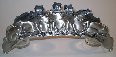 "RARE Spoontiques Pewter Frog 3 Candle Votive Holder Large 10"" Wide See Pics"