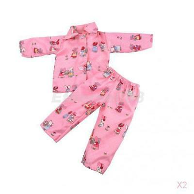 2x Pajamas Nightgown Sleepwear for 18'' American Journey Girl My Life Doll Pink