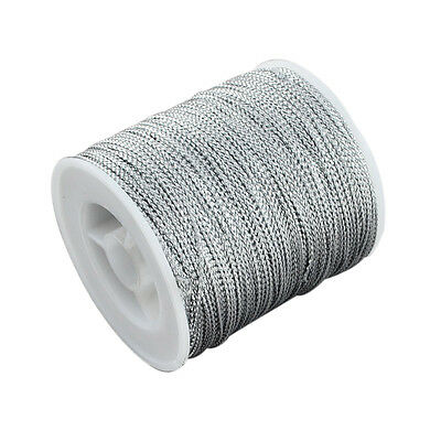 1mm Silver Metallic Braided Beading Cord 1M to 100M For Jewellery Making