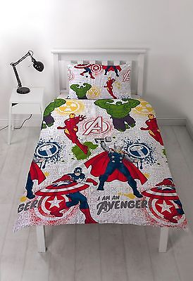 Marvel Avengers Mission Single/double Duvet Cover Set Reversible Bedding