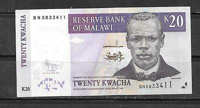 MALAWI #52e 2009 UNC MINT 20 KWACHA CURRENCY BANKNOTE BILL NOTE PAPER MONEY