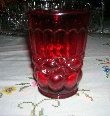 Vintage L G Wright Ruby Glass Flat Tumbler Eye Winker Pattern