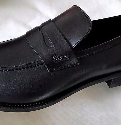 GUCCI New $625 Men's Logo Penny Loafers Shoes US 15.5