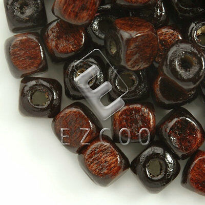 30g(150pcs approx) Loose Wooden Spacer Wood Beads Cube Brown 6x6mm WB0056