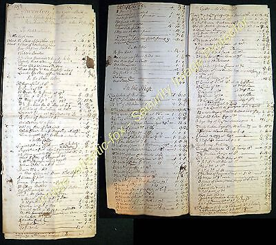 1763 Original WARKWORTH Superb MERCHANTS INVENTORY of his STOCK 7 pages