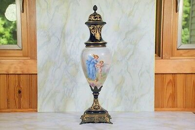 Antique Garniture Urn Cobalt Blue Ground Porcelain & Ormlou Signed E. Collot