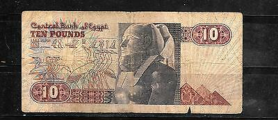 Egypt Egyptian #51 1986 10 Pounds Vg Circ Banknote Paper Money Currency Note