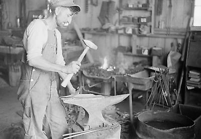 "Old Time Photo, 1940, Blacksmith, Iron, Labor, 18""x13"" PRINT, antique vintage"