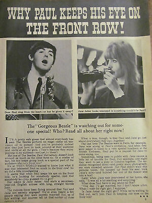 Paul McCartney and Jane Asher, The Beatles, Full Page Vintage Clipping