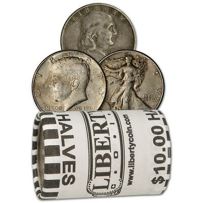 90% Silver Half Dollars - Roll of 20 - $10 Face Value - Circulated