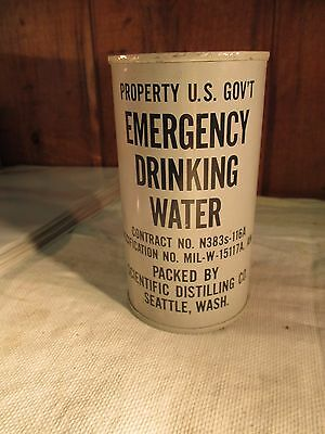 1954 U.S. GOVERNMENT EMERGENCY DRINKING WATER 12oz SEALED RATION CAN SEATTLE, WA