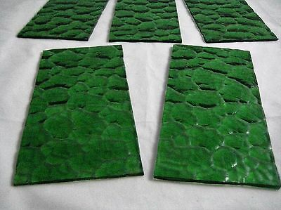 Vintage Green Glass Sheets Panels Set of 5 For Re-Purposing DIY Projects