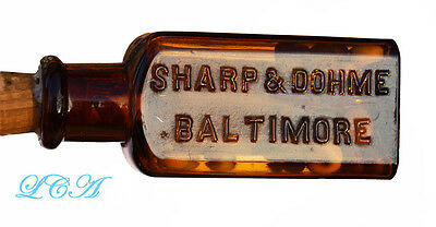Antique SUGAR coated MORPHINE pills bottle EMBOSSED w/ LABEL - Sharp Dohme