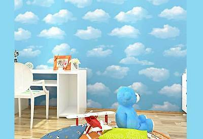 Baby Nursery Boys Girls room Cloud Sky BLUE wallpaper Kids wall paper