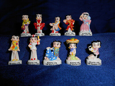 BETTY BOOP Set 10 Mini Figurines French Porcelain Tiny FEVES Miniature Figures
