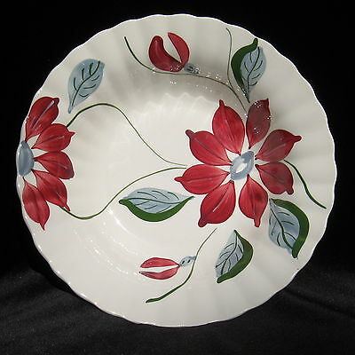 "Blue Ridge Poinsettia Vegetable Serving Bowl  9-1/4"" Vintage Southern Potteries"
