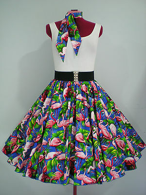 "ROCK N ROLL/ROCKABILLY ""Flamingos"" SKIRT & SCARF M-L Royal Blue/Pink/Green."