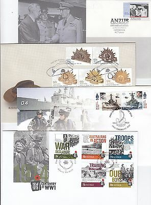 Stamps various Australia military, war or navy related on group of 4 FDC's