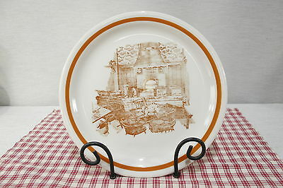 "Shenango Anchor Hocking Scenic Plate pub scene, fireplace 9 3/4"" A X 38"