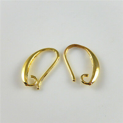 20 pcs Jewellery Making Ear Wires Gold Plated Brass Clasp Hooks Earring Findings