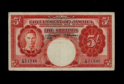 JAMAICA  5 SHILLINGS 1940 ( C54 )  PICK # 37a  F-VF BANKNOTE.