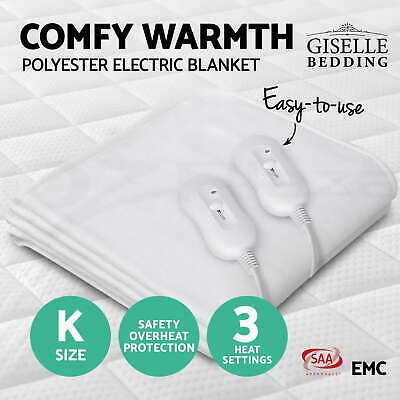 Washable Heated Electric Blanket Fully Fitted Polyester Underlay Warm Bed King