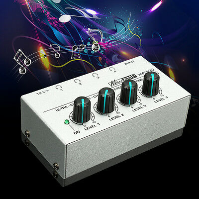 AU HA400 Ultra-compact 4Channel Audio Stereo Headphone Amp Microamp Amplifier DJ