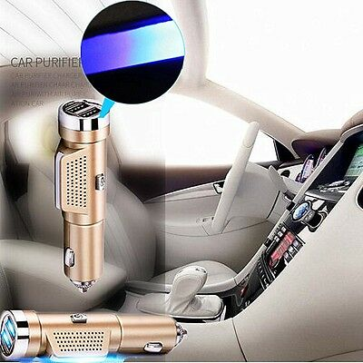 3 In 1 Dual USB Car Charger Cigarette Lighter Fresh Oxygen Ozone Air Purifier