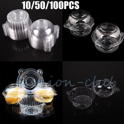 10-100x Large Individual Plastic Cupcake Holder Single Muffin Case Box Dome Cups