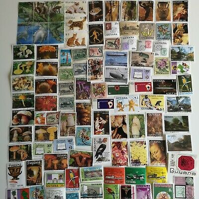 200 Different British Guiana and Guyana Stamp Collection