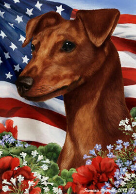 Large Indoor/Outdoor Patriotic I Flag - Uncropped Red Miniature Pinscher 16151