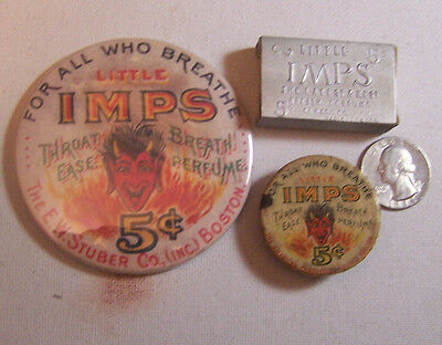 Reduced LITTLE IMPS BREATH PERFUME Lot VINTAGE TINS NEW MIRROR Advertising DEVIL