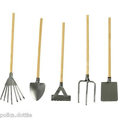 Mini Garden Tools Set of 5 Dolls House Garden Tools Craft Decoration Dolls House