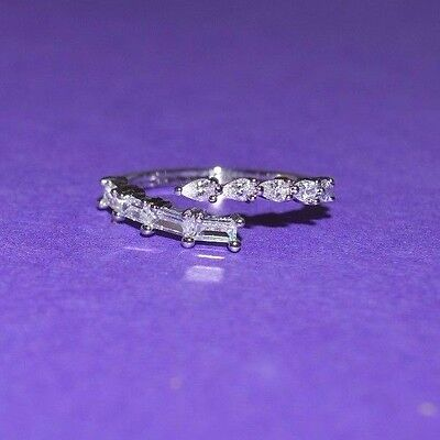 Adjustable Toe Ring/Mid Ring with Pear CZs and Princess Cut CZs Crossing