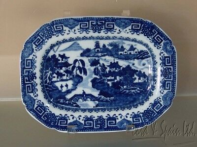 "Antique 19th C English Blue Willow 10"" Small Platter"