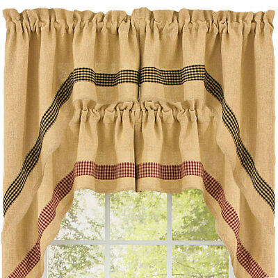 Burlap and Check Unlined 36 Inch Swags by Park Designs Black or Wine