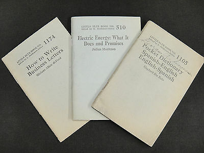 Little Blue Books Lot 3 Spanish Dictionary Business Letters Electric Engery Vtg