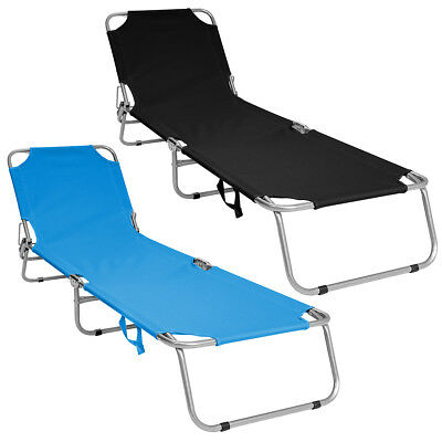 Charles Bentley Foldable Camping Sun Lounger Sun Bed Recliner - Black &  Teal