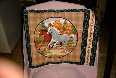 White and Bay Arabian Horse  Lovers Cotton Pillow Panel Fabric Household Apparel