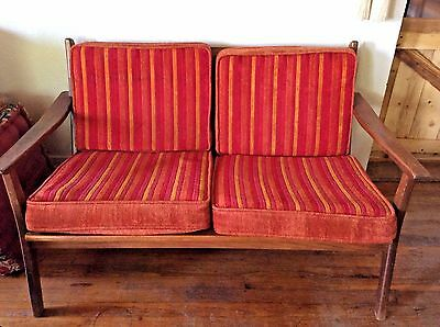 Vtg  Mid Century SETTEE Loveseat Bench sofa couch modern retro slatted wood
