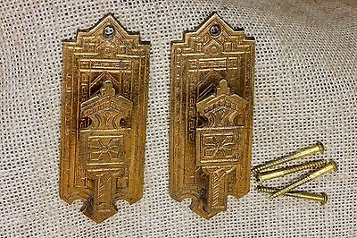 2 Coat bath robe Hooks curtain tiebacks old antique cast brass Fancy Eastlake