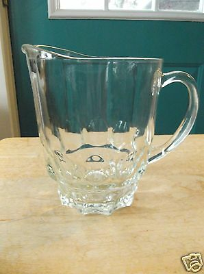 Heavy Retro Clear Glass Beer Pitcher with Thumbprint Design