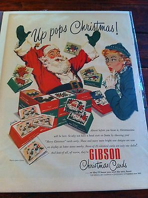 Vintage 1953 Gibson Christmas Cards Up Pops Christmas Santa Clause Print ad