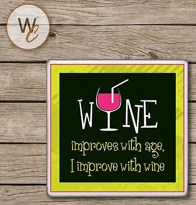 Ceramic Tile WINE Coaster, Wine Improves With Age I Improve With Wine, Bar Decor