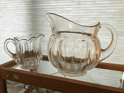 """Heisey Glass """"PURITAN"""" Colonial Panel WATER PITCHER and Creamer"""