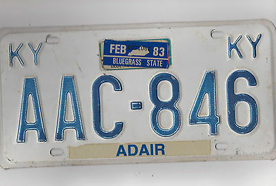 AAC 846 = Feb 1983 Adair County Kentucky license plate     **$4.00 US Shipping**